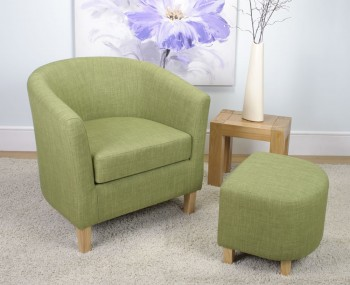 Falkirk Lime Linen Fabric Tub Chair and Stool