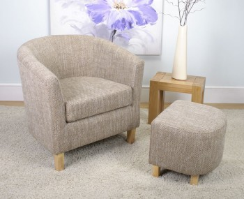 Falkirk Tweed Fabric Tub Chair and Stool