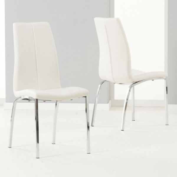 Flynn Off-White Faux Leather Dining Chairs