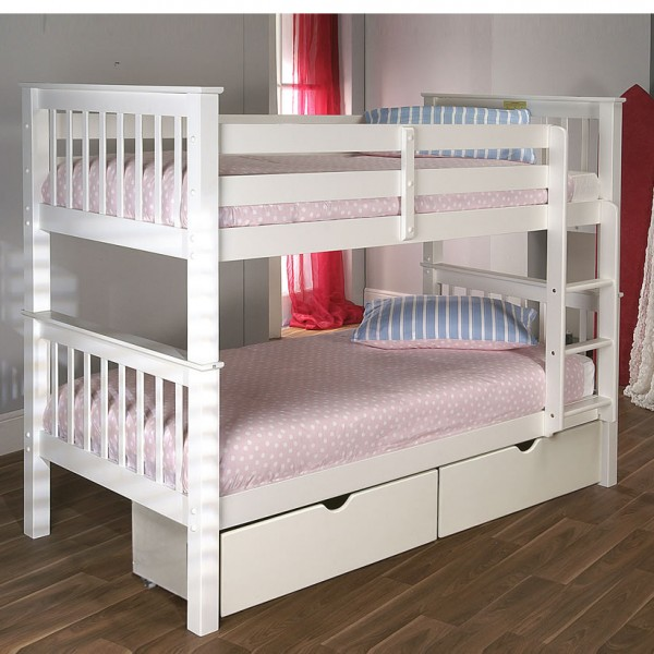 Paulie White Bunk Bed Single Sized Uk Delivery