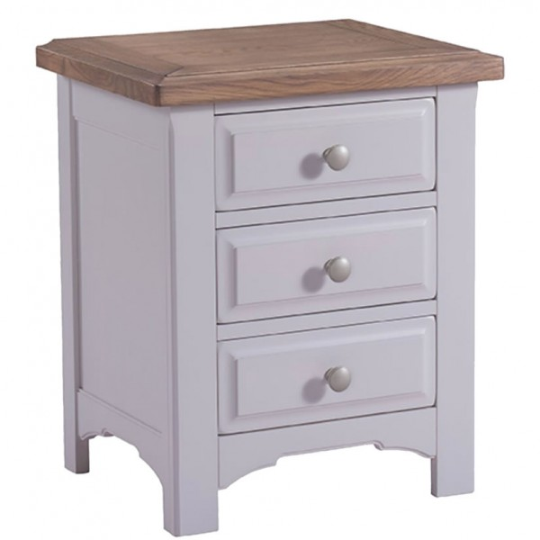 Everette Two Tone 3 Drawer Bedside Chest