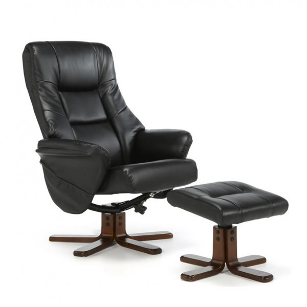 Welton Black Faux Leather Massage Recliner Chair & Stool