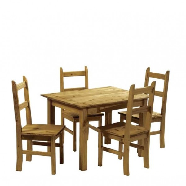 Rustic Pine Dining Room Table 4 Chairs