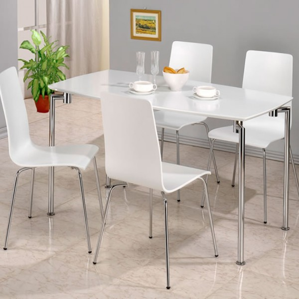 Dove White Rectangle Dining Table And 4 Chairs