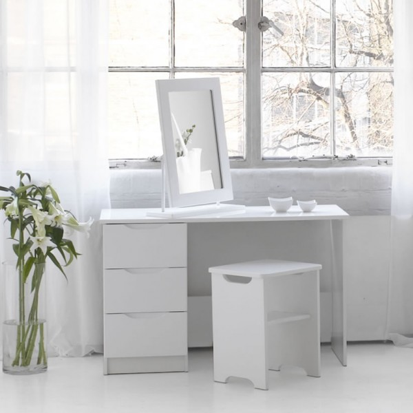 Trend Single White High Gloss Dressing Table Stool And