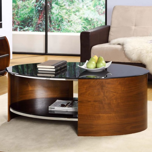 Walnut Oval Coffee Table Uk: Zennor Oval Walnut And Glass Coffee Table