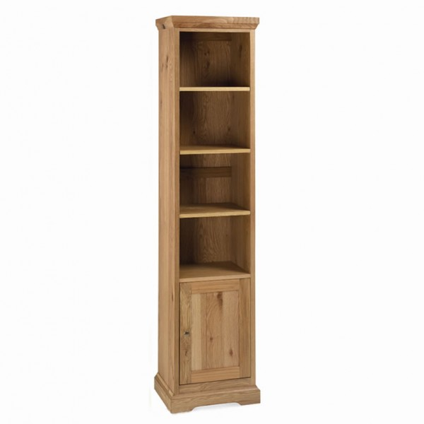 Provence Oak Narrow Bookcase With Cupboard Uk Delivery