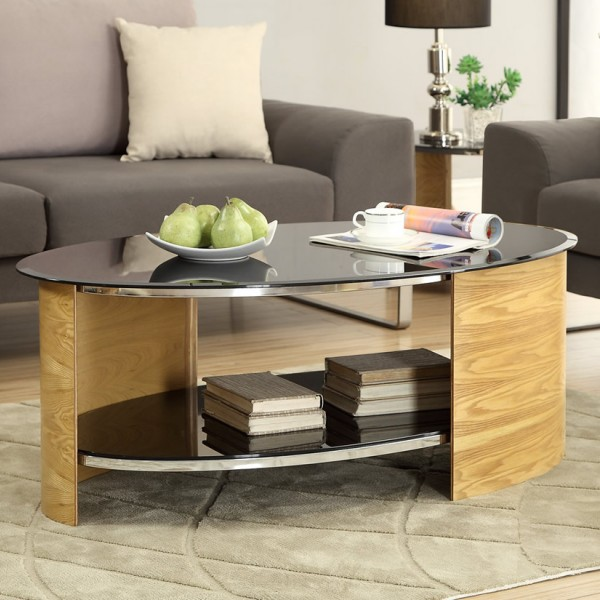 zennor oval oak and glass coffee table. Black Bedroom Furniture Sets. Home Design Ideas