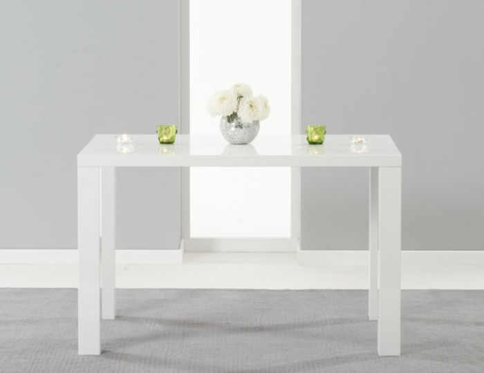 Earlham Medium White High Gloss Dining Table and Chairs