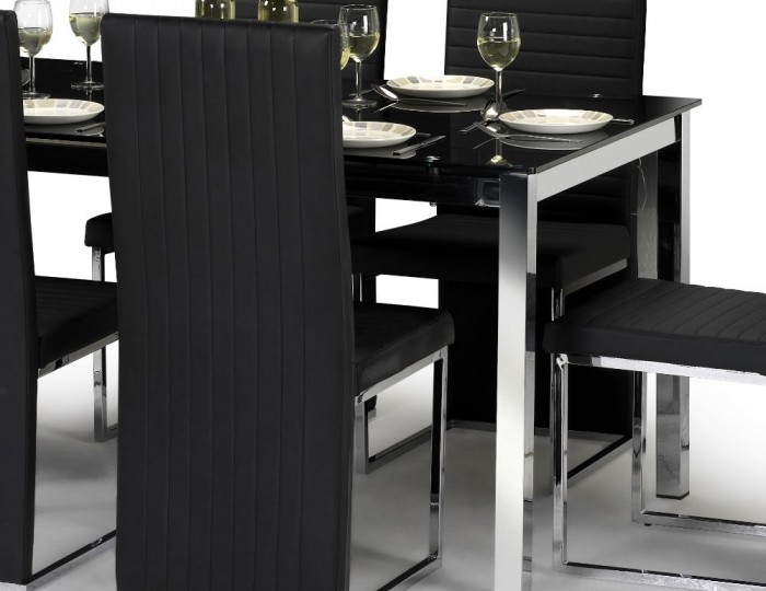 Tempo Black Glass Dining Table and Chairs