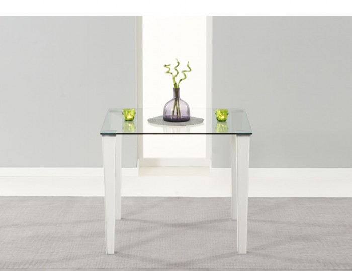 Glamorgan Clear Glass and White Faux Leather Kitchen Table Set