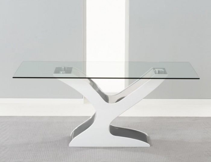 Portman White and Black High Gloss and Glass Dining Table
