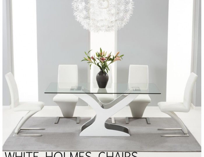 Portman Black and White High Gloss and Glass Dining Table and Chairs