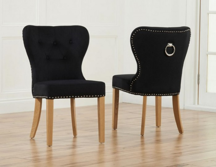 Sudbury Black Velvet Upholstered Dining Chairs