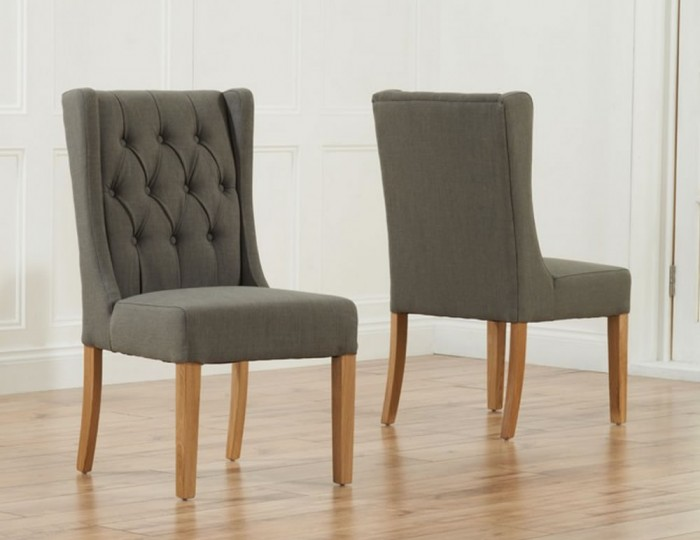 Silvia grey linen upholstered dining chairs for Upholstered linen dining chairs