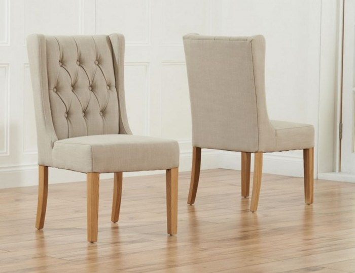 Silvia beige linen upholstered dining chairs for Upholstered linen dining chairs