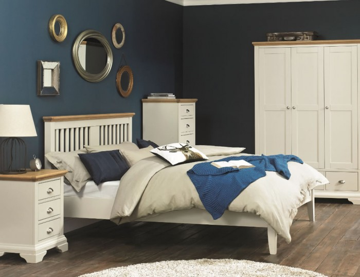 Hampstead Soft Grey and Oak Bedstead