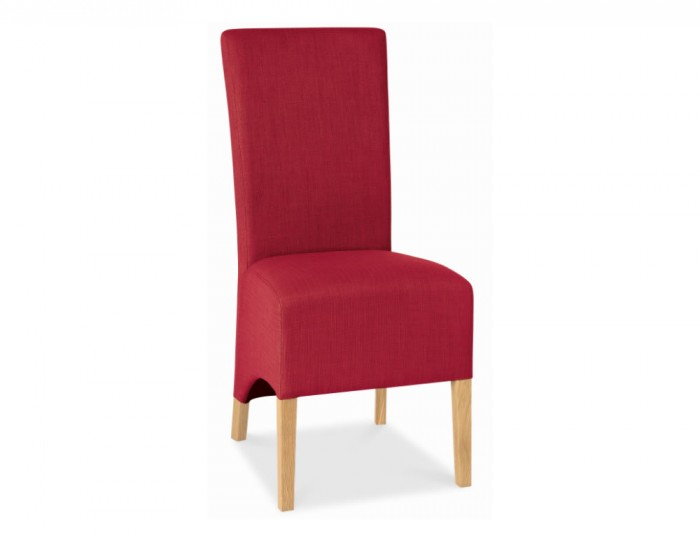 Nina Oak and Red Upholstered Dining Chairs