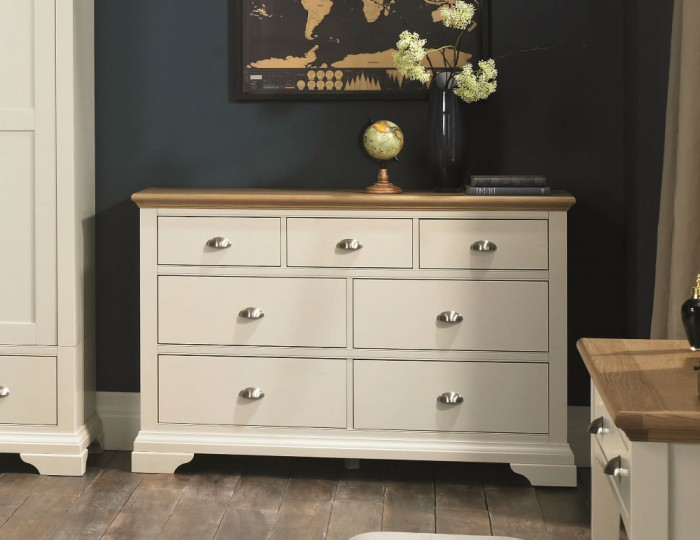 Hampstead Soft Grey and Oak 3+4 Drawer Wide Chest
