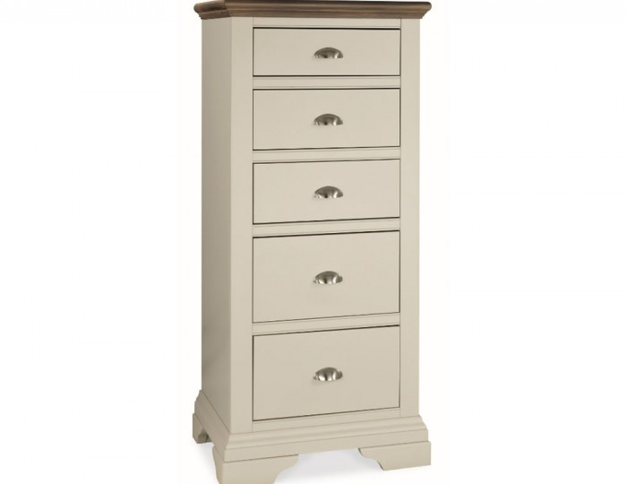 Hampstead Soft Grey and Walnut 5 Drawer Tall Chest