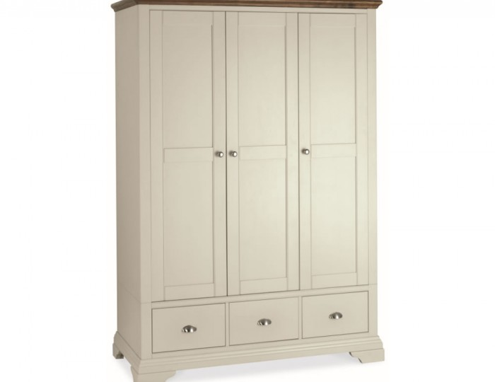 Hampstead Soft Grey and Walnut 3 Door Wardrobe