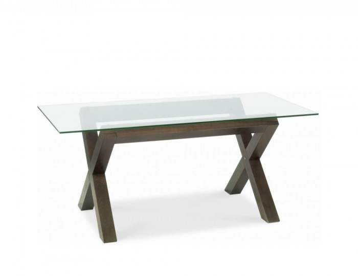 Nina Walnut Glass Top Dining Table and Chairs