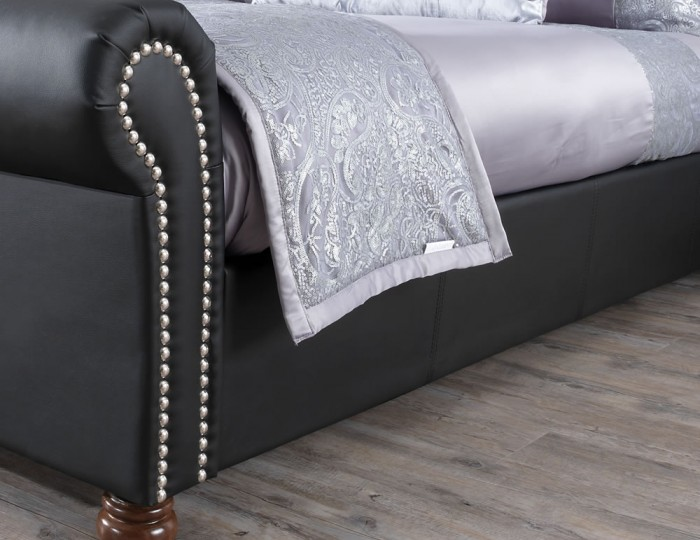 Lombardy Black Faux Leather Bed