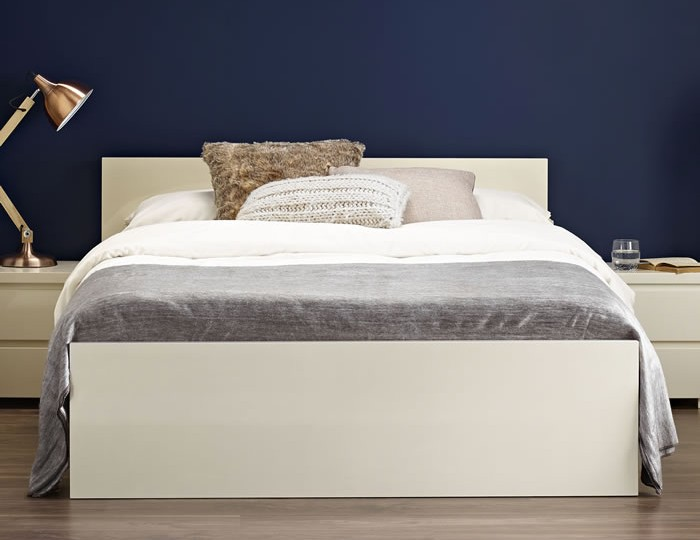Puro Cream High Gloss Bed Frame