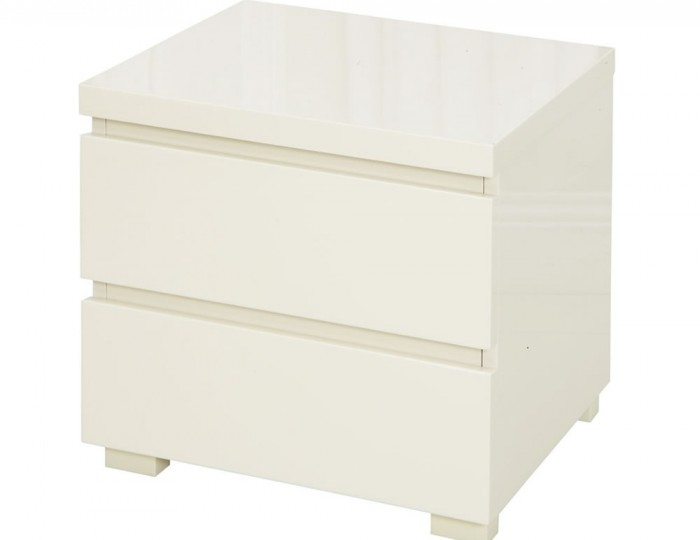 Puro Cream High Gloss 2 Drawer Bedside Chest