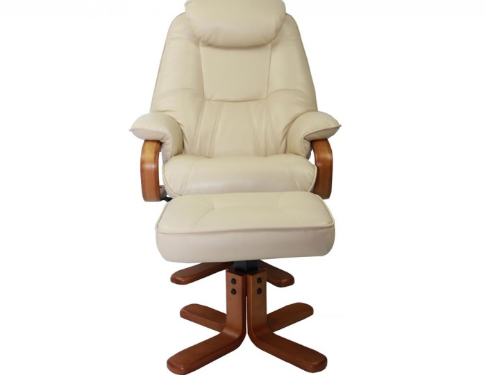 senado cream bonded leather swivel chair and foot stool