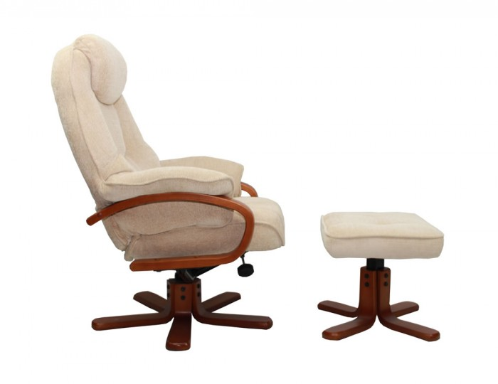 Caprice Beige Chenille Fabric Swivel Chair and Foot Stool