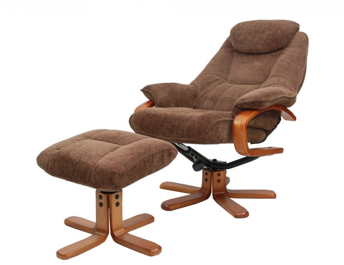 Caprice chocolate chenille fabric swivel chair and foot stool - Swivel feet for chairs ...
