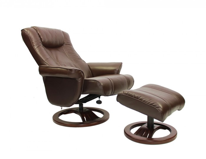Highbury brown genuine leather swivel chair and foot stool - Swivel feet for chairs ...
