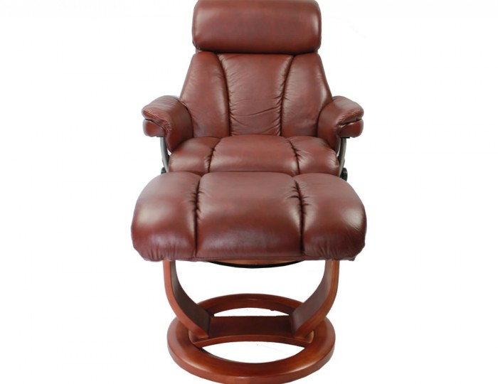 Veronica Chestnut Genuine Leather Swivel Chair And Foot Stool