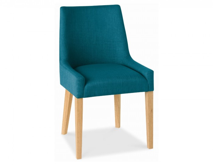 Ella Oak And Teal Upholstered Dining Chairs