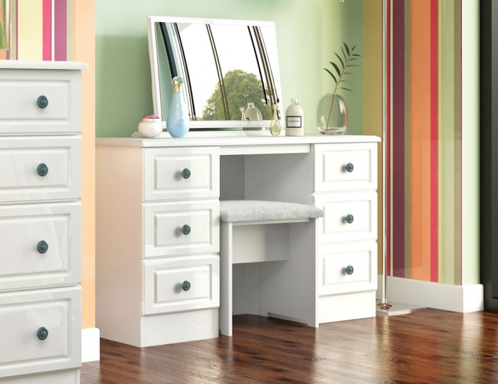 Abberley White Gloss Double Dressing Table