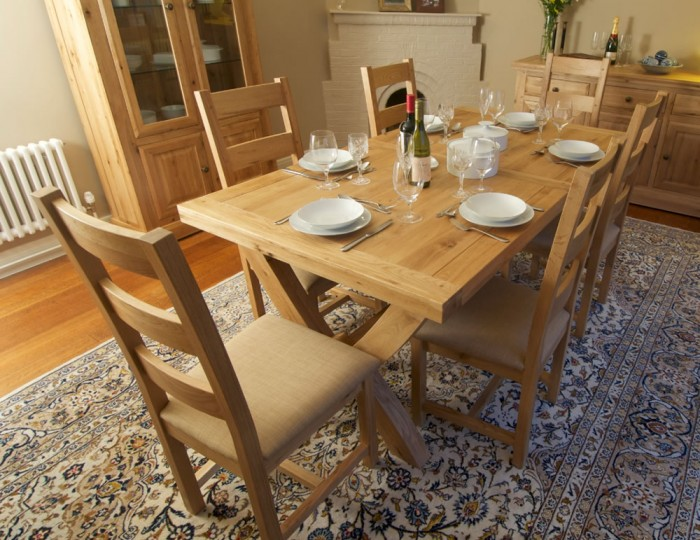 Roche Solid Oak Ox Bow Extending Dining Set