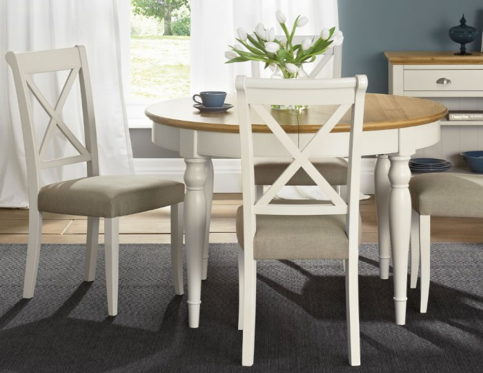 Hampstead Soft Grey and Oak Round Extending Dining Table and Chairs