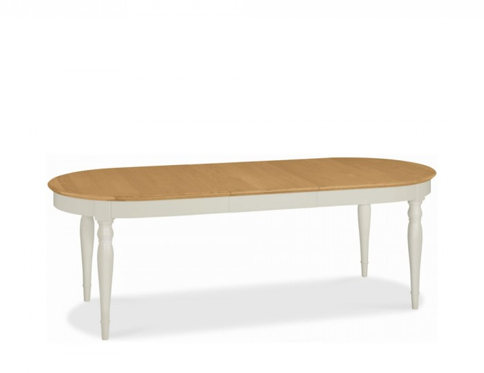 Hampstead Soft Grey and Oak Oval Extending Dining Table