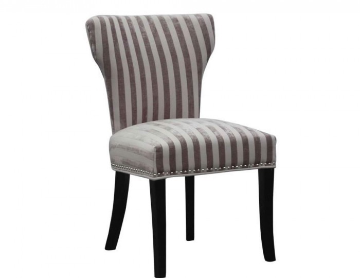 Seymour Mink Velvet Striped Fabric Dining Chairs