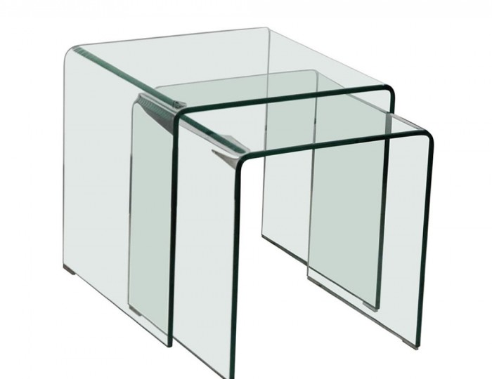 Packard Clear Glass Nest of Tables