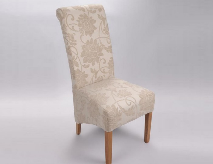 Vendi Cream Jacquard Floral Fabric Dining Chair