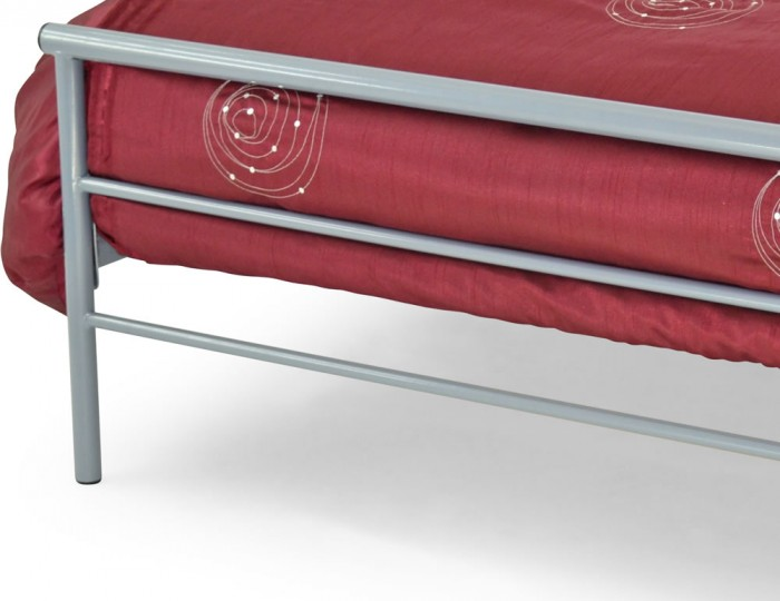 Contract Silver Metal Slatted Bed Frame