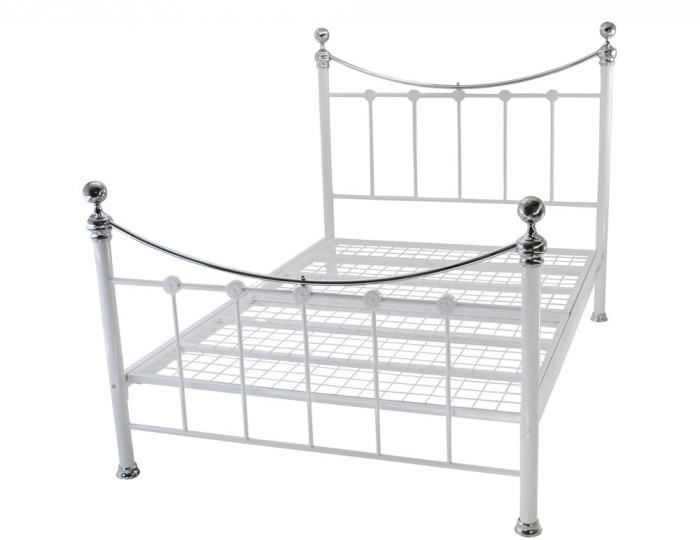 Huntingdon White Gloss and Chrome Metal Bed Frame