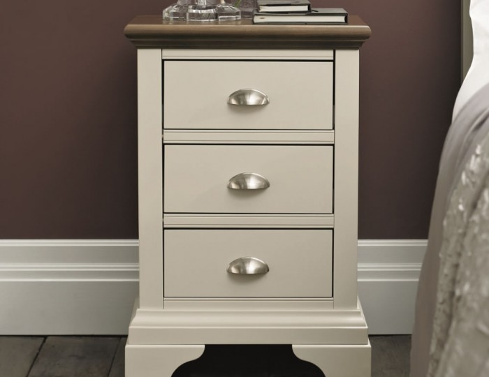 Hampstead Soft Grey and Walnut Bedside Chest