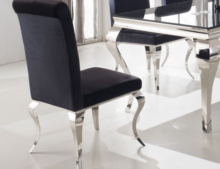Napoleon Black Glass Dining Table and Chairs