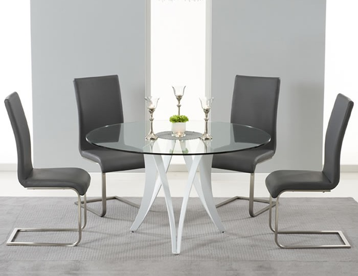 Clyde Round Glass Dining Table and Chairs