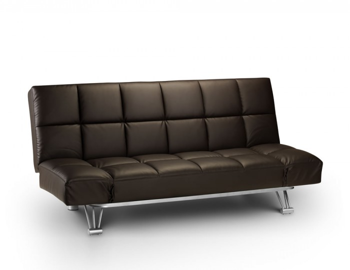 Manhattan brown faux leather clic clac sofa bed - Futon pour clic clac ...
