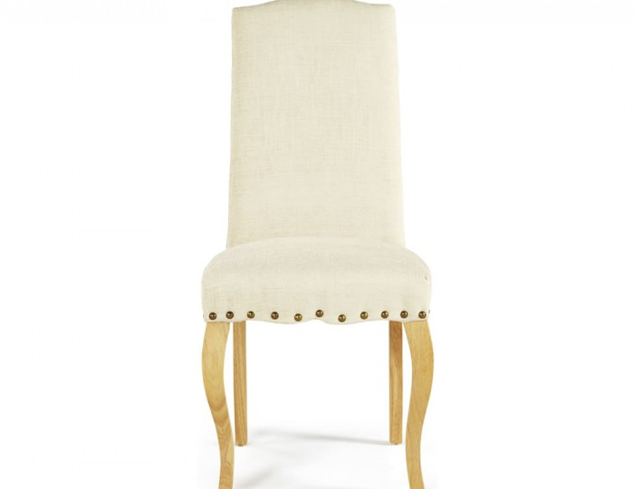 Brompton Pearl Fabric and Oak Dining Chairs