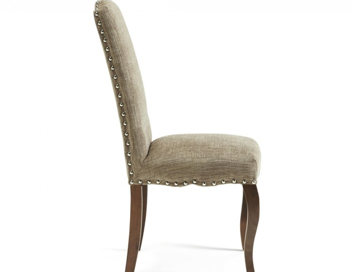 Brompton Bark Fabric and Walnut Dining Chairs